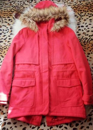 Розовое еврозима кашемир пальто парка теплая на синтепоне длинное батал