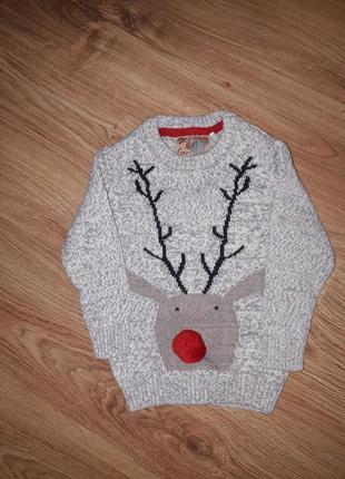 Трендовый свитерок с орнаментом 12-18 месяцев next