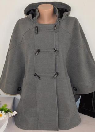 Серое демисезонное пончо пальто с капюшоном и карманами дафлкот redherring вьетнам