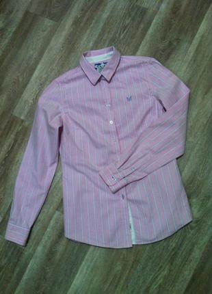 Котоновая розовая рубашка в полоску* полосатая сорочка
