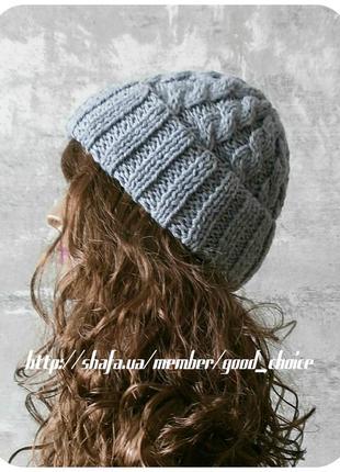 Спеццена до нг! хлопковая шапка с отворотом/косы/светло-серого цвета