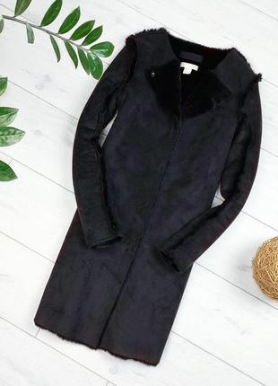 Чёрная удлинёная дублёнка
