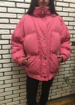 Куртка пуховик розовая over size на пуху объемная