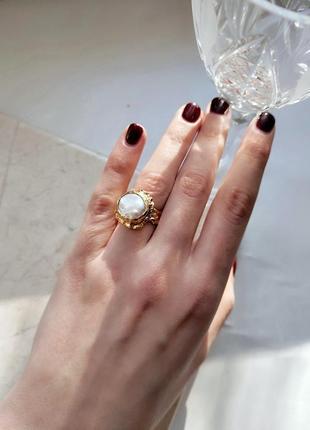 Нежное кольцо с натуральным жемчугом, позолота, ручная работа