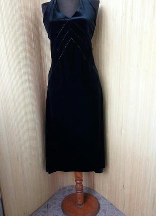 Вечернее / коктейльное  черное платье с открытой спиной
