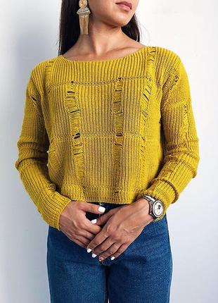 Кроп-топ свитер,свитерок рваный,с дырками