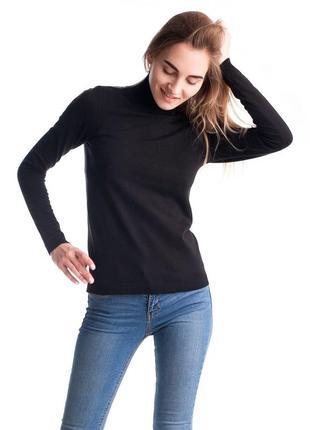 Базовый чёрный гольф свитер