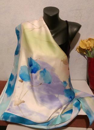 Натуральный шелк,качественная саржа,роуль,платок в нежных тонах,90*92,нюанс