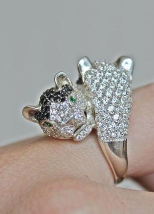 Серебряное кольцо гепард р.17,5