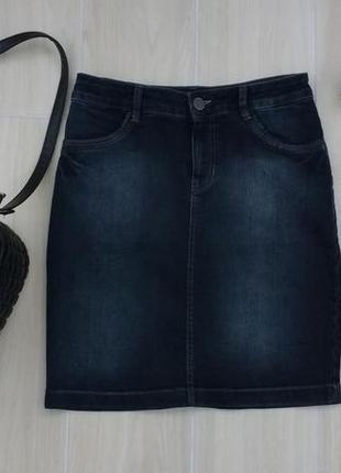 Р m-l джинсовая юбочка миди с кожаными вставками !