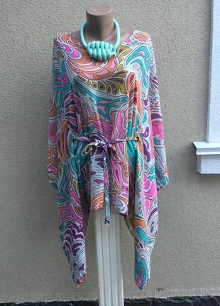 Романтическая,блуза-пончо-разлетайка,туника пляжная,шелк100%,h&m эксклюзив