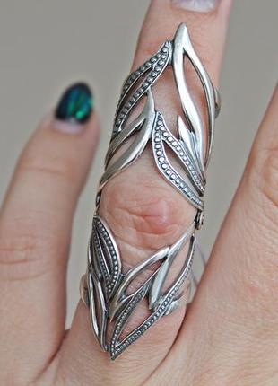 Серебряное кольцо фигаро на две фаланги р.17