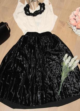 Стильна бархатна юбка пліссе