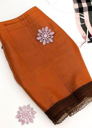 Кожаная юбка, натуральная кожа ellen tracy