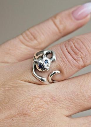 Серебряное кольцо багира р.15-17