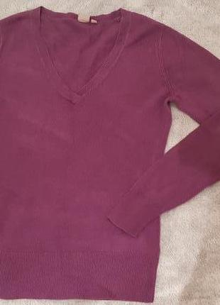Классический пуловер цвета баклажан