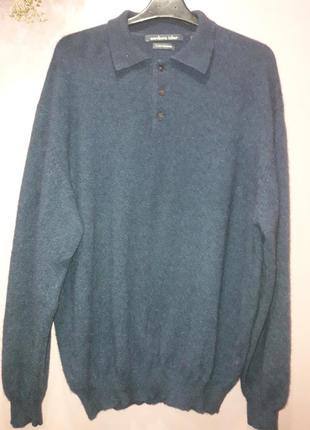 Кашемировый свитер-поло синего цвета