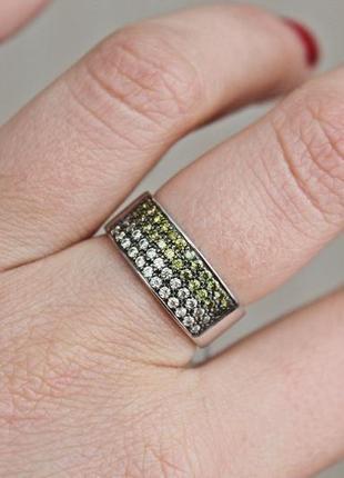 Серебряное кольцо радуга р.19