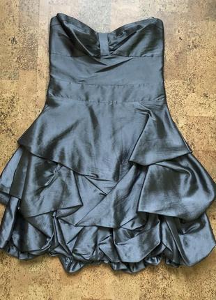 Платье бюстье металлик новогоднее с пышной юбкой праздничное блестящие