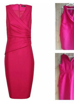 Alexon брендовое нарядное платье, фуксия, шелк/шерсть, 16р. alexon