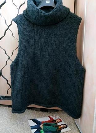 Стильная шерстяная безрукавка/свитер свободного кроя uk16
