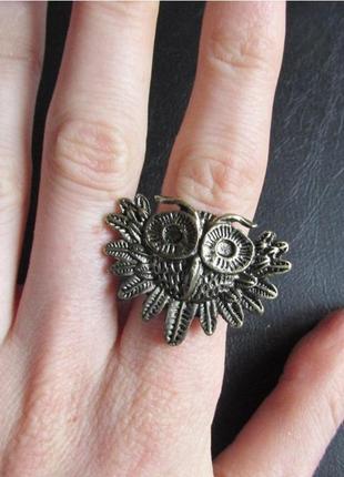 Стильное кольцо сова, безразмерное, новое! арт.31