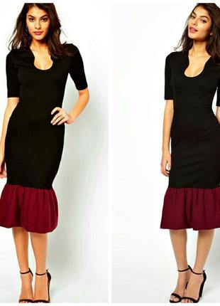 Шикарное платье с оборкой!размер xs-s
