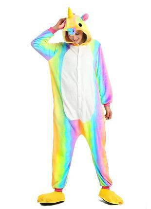 Пижама женская кигуруми радужный единорог