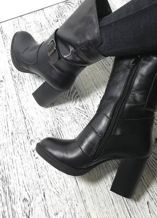 Новые зимние кожаные ботинки ботильоны на толстом каблуке зима рр 36-41