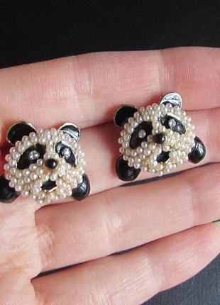 Красивые серьги панда мишки, новые! арт.415