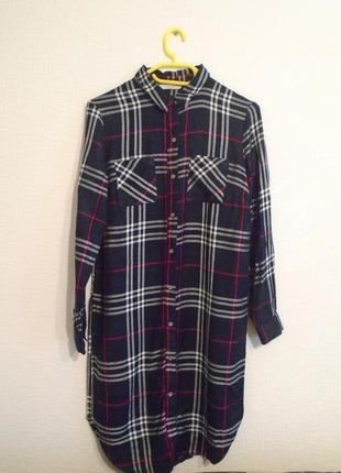 Красивая,длинная платье-рубашка,блуза в клетку,разрезы по боку,вискоза
