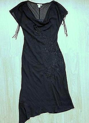 Платье h&m черное чулок вечернее нарядное коктейльное миди шифоновое по фигуре
