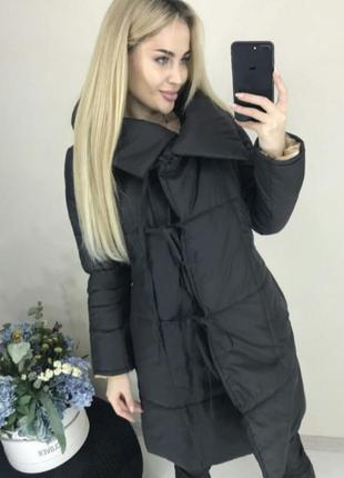 Новое женское демисезонное пальто весна черное на завязках куртка весна жіноча пальто