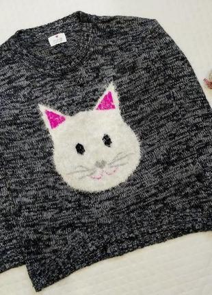 Меланжевый тепленький свитер с котиком размер 14-16 (46-48)
