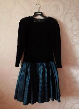 Платье из бархата, винтаж, ретро, коктейльное платье с пышной юбкой, новый год, выпускной