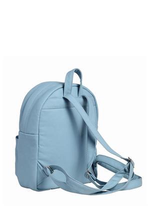 Небольшой женский рюкзак голубой с экокожи