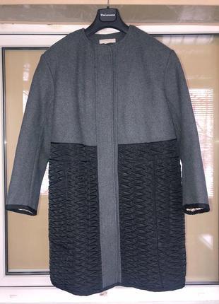 Шерстяное демисезонное пальто oversize кокон h&m