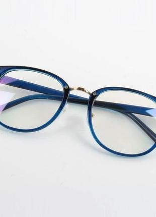 Имиджевые очки в тонкой оправе унисекс синяя оправа