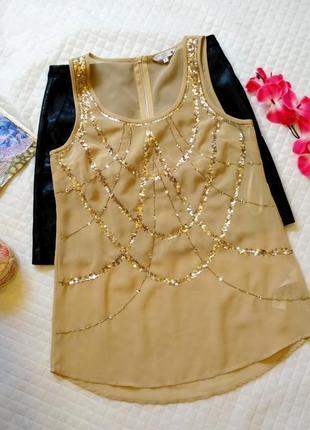 Шикарная шифоновая блуза - топ в пайетках стразах размер 12(42-44)