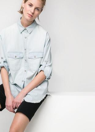 Джинсовая рубашка mango, бледно-голубой деним