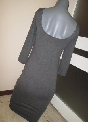 Новое облегающее платье по фигуре colin's, платье миди, цвет антрацит, xs, вырез на спинке