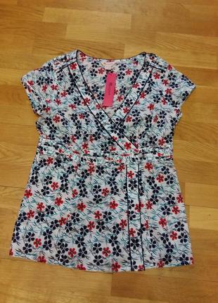 Яркая легкая летняя блузка monsoon застежка на запах 12 размер, евро 40
