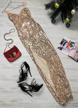 Невероятное макси платье в золотые пайетки в165707 naa naa размер s/m длинное