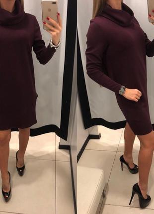 Бордовое платье с горлом хомутом mohito трикотажное платье с горлышком есть размеры