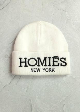 Белая женская шапка, шапочка homies