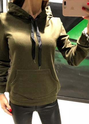 Зеленое худи с лентами cropp толстовка с начёсом пайта есть размеры