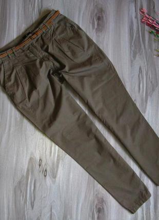 Коттоновые брюки h&m цвет хаки размер eur 42