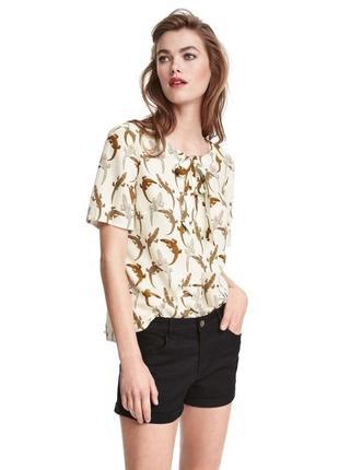 Блузка блуза из жатой ткани в анималистический  принт животный от h&m