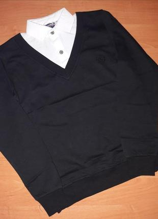Джемпер-обманка для мальчика черный джемпер+белая рубашка (воротник)