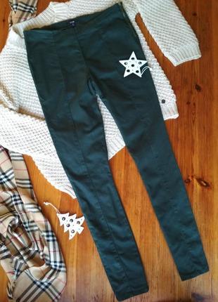 Изумрудные брюки skinny зауженные